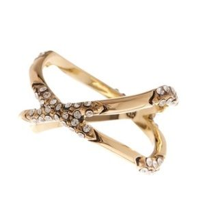 House of Harlow 1960 Gold Criss Cross crystal ring